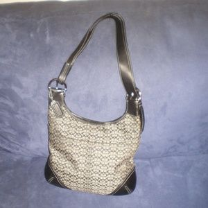 COACH Black & Gray Signature C Smaller  Hobo Bag